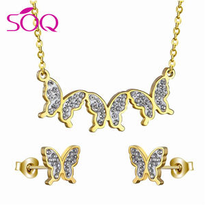 Hot sale stainless steel perhiasan emas diisi 18 k emas setengah set pernikahan perhiasan set