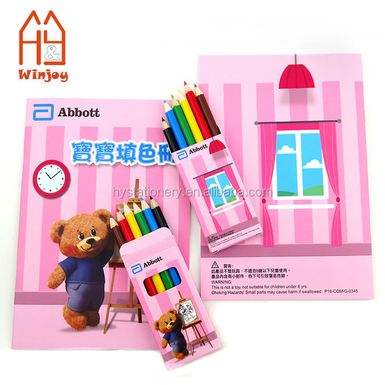 Best seller Drawing Stationery Set A5 Soft Cover Coloring Book With 6pcs Color Pencil Set OEM For Kids