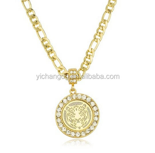 Gold Pendant Necklace, Goldtone Sandblast Tiger Micro Pendant with Clear Stones and a 24 Inch Figaro Necklace
