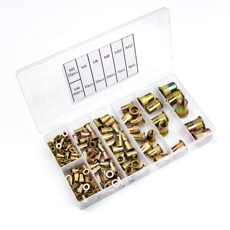 Urlwall 165Pcs Carbon鋼Rivet Nuts M4 M5 M6 M8 M10 M12 Flat Head Rivet Nuts Set Nuts Insert Riveting Multi Size Collocation