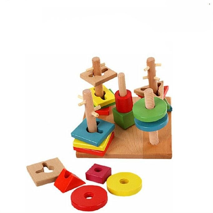 Five-column set of building blocks for infants and young children early education and wisdom wooden building blocks toys