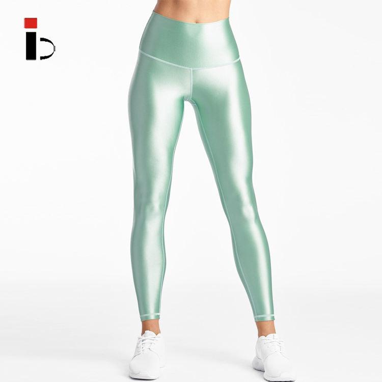 Newest design sexy tight shiny leggings cheap women sport