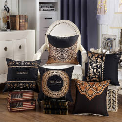 High Quality VINTAGE Luxury Europe Black Gold Cushion Cover