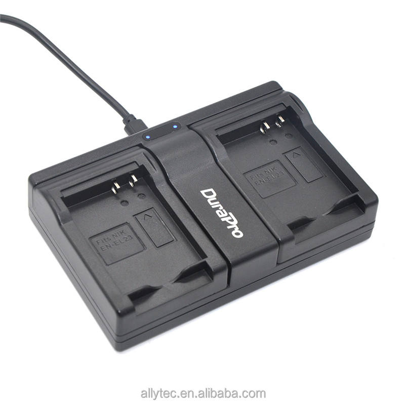 Tấm USB Dual Port Camera Battery Charger cho Nikon EN-EL23 EN EL23 ENEL23