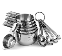 Stainless Steel Measuring Cups and Spoons Set - 11 Piece Stackable Set