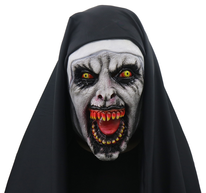 Cosplay Full Head Scary Latex Nun Mask for Adults
