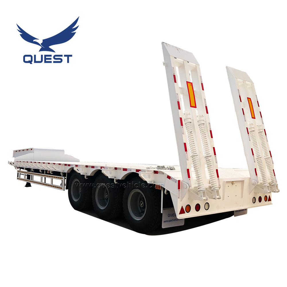 QUEST VEHICLE 3 Axle 80 Tons Extendable Lowboy Loader Lowbed Low Bed Truck Semi Trailer for Africa