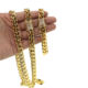 top quality micro pave cz buckle hip hop bling gold filled miami cuban link chain bracelet necklace jewelry set for men