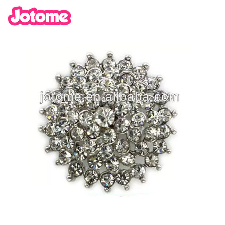 Beautiful Silver Rhinestone Crystal Flower Shank Buttons for Craft