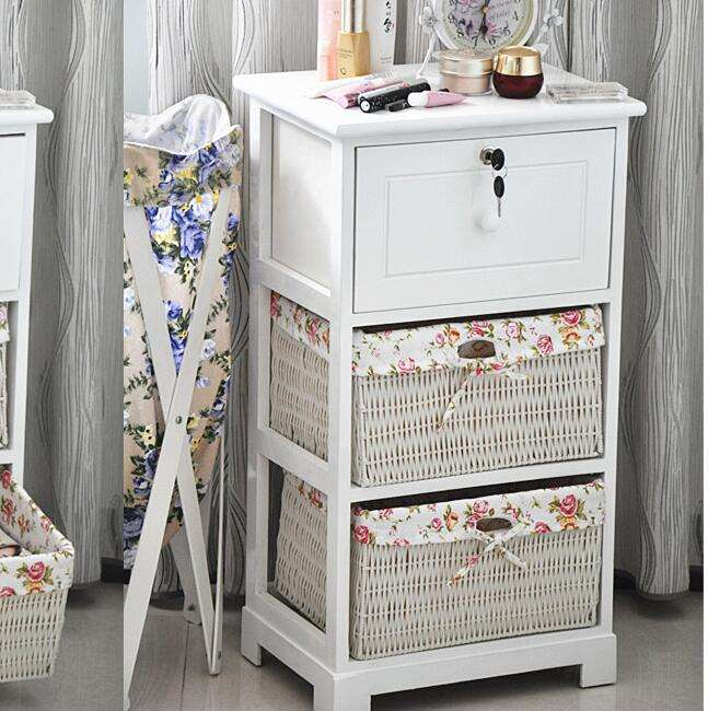 Bedroom furniture antique bedside table chest of drawers solid wooden Multi-function European Counter Nightstand