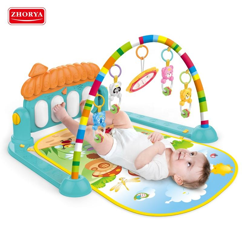 Multi functional fitness rack baby gym piano play sleeping mat with animal rattle