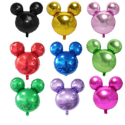mini Mickey mouse Head Shape plain color Aluminum Foil Balloon For birthday Party decoration