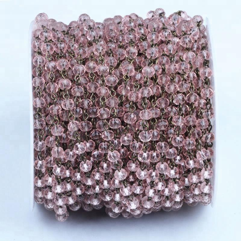 China Supply DIY Jewellery accessories AB Faceted Rondelle beads Link Chain