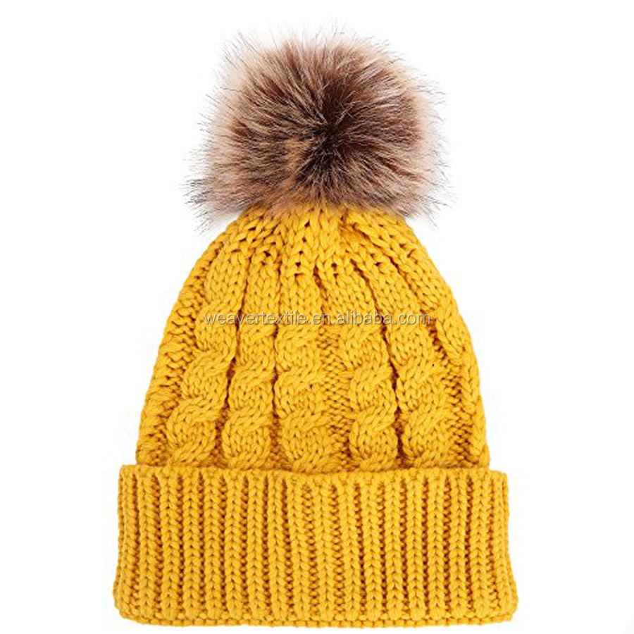 Winter Beanie Hat with Top Ball