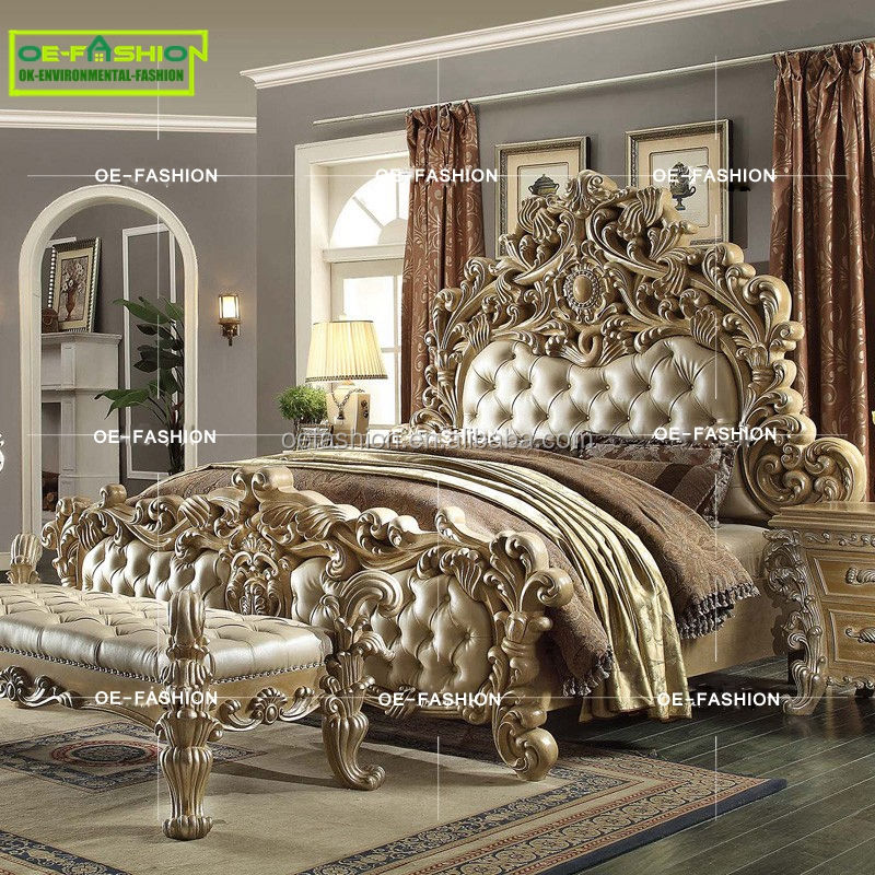 OE-FASHION Luxury wood carving Italian leather queen bed frame furniture,leather bed made in china