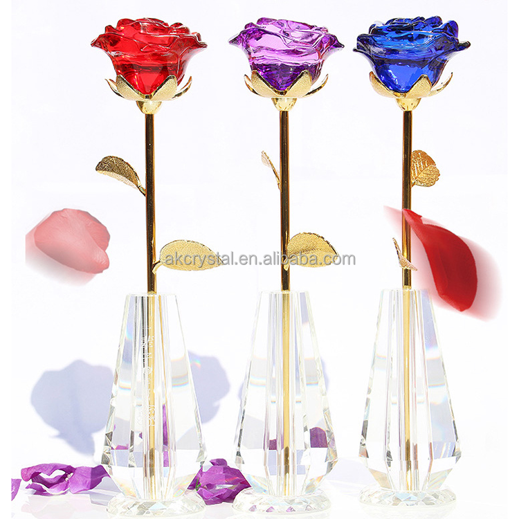 Hot sale Gold Rose Flowers Romantic LED Rose Wedding Decor Valentine's Day Creative Gift Lover Lighting crystal Rose with vase