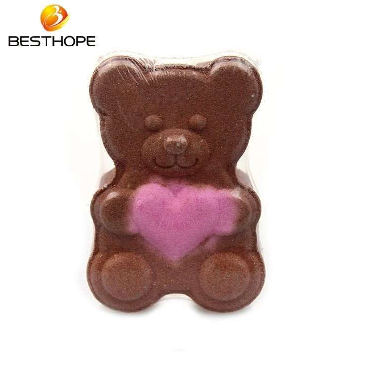 Factory price Colour of Changing Bear shape kid bath bomb for sale