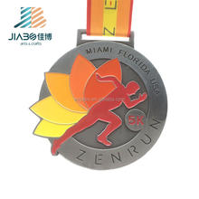 High quality custom made running sports metal medal with ribbon