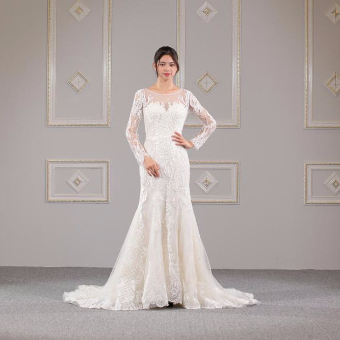 Luxury heavy beaded mermaid wedding dress with detachable train WT378