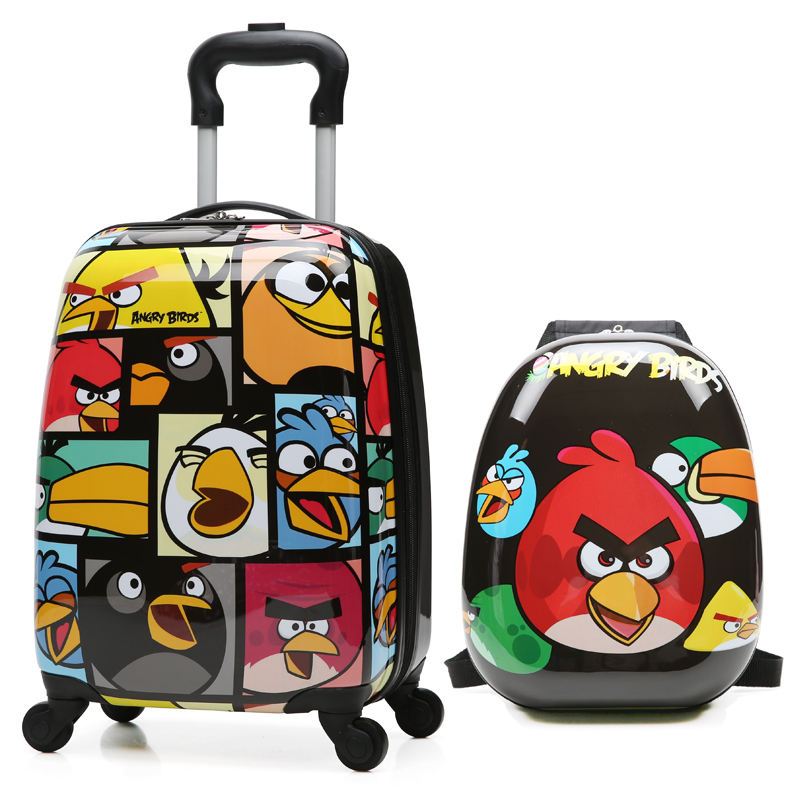 Custom ABS Hard Case Cartoon Children Baby Caddy Travel School Suitcase Printed Trolley Kids Luggage Bag