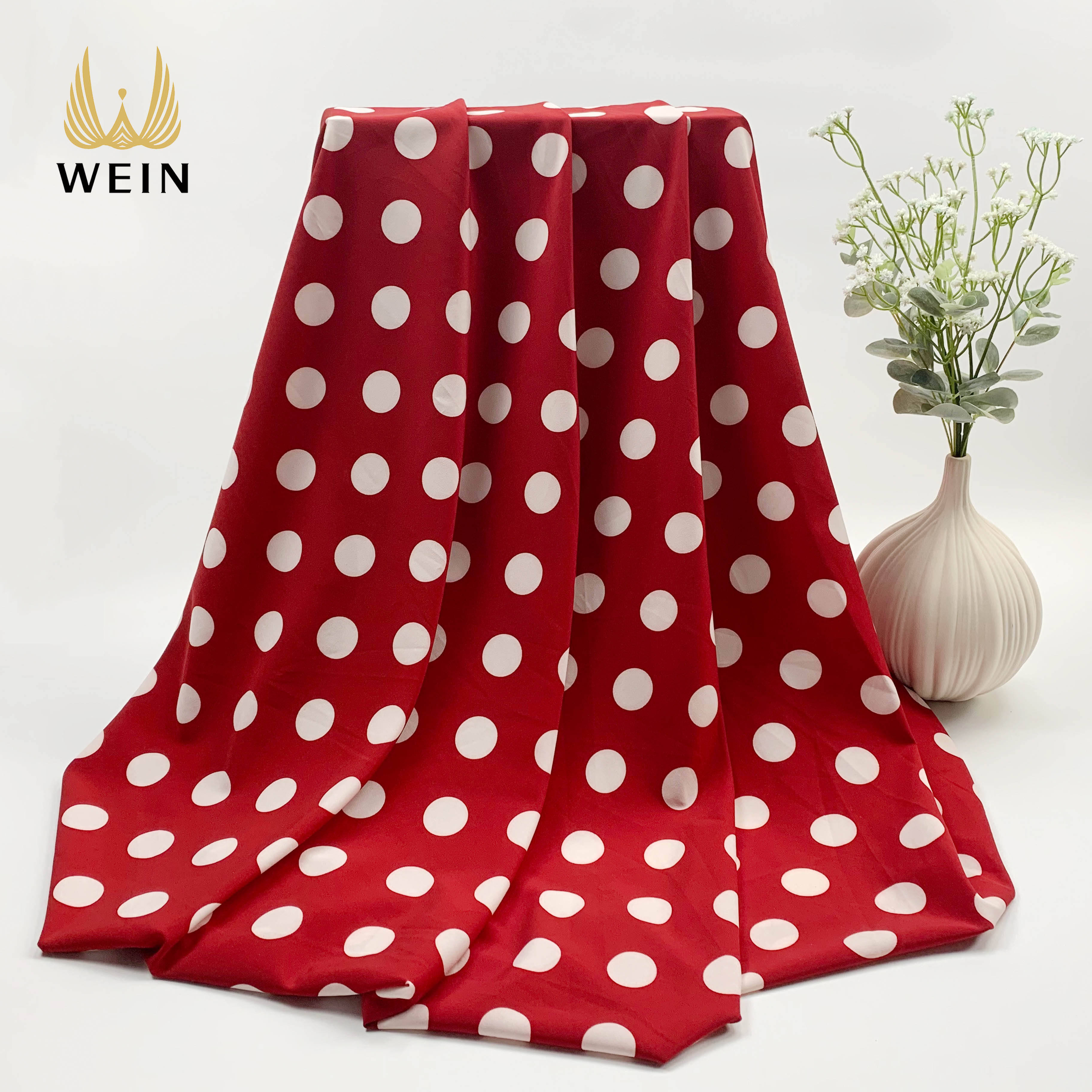 WI-D04 Polyester spandex 4 way stretch red and white polka dot print dress fabrics