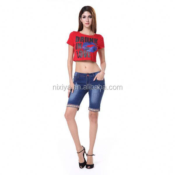 Chinese clothing low price good quality factory wholesale women half pant jeans
