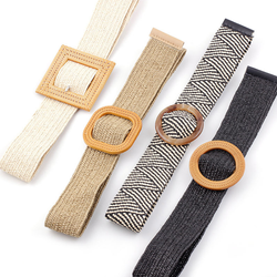 Raffia Straw Braided Elastic Belts With Imitation Rattan Buc
