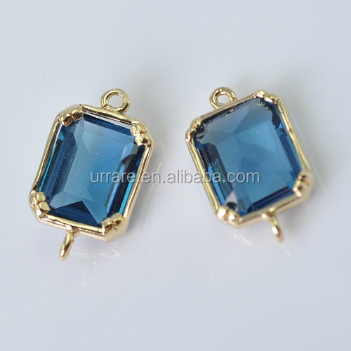 Gold Square Frame Navy Blue Stone Bezel Link Connectors for Jewelry