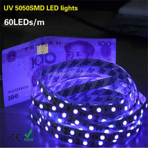 Nueva llegada 12V impermeable IP33 IP65 5M 395nm ultravioleta UV led SMD 5050 tira púrpura LED Flexible 300 tiras de luz