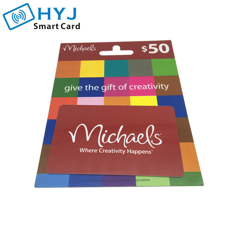 Barcode Printed Cardboard PVC Card with Hanging Gift Card Backer