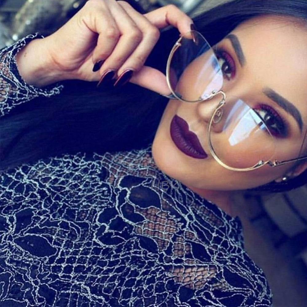 Rimless Cat Eye Women Sunglasses Transparent Fashion Brand Designer Sunglasses Lady Clearly Large Metal Frame UV400