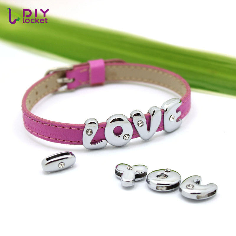 Wholesale Alloy Slide Letters For 8mm Charms Leather Bracelets And Dog Collars,accept Custom Slide Charms