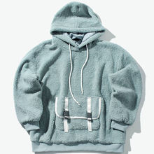 Custom Fashion polar fleece  Man's Plain  Hoodie And Straps Pocket