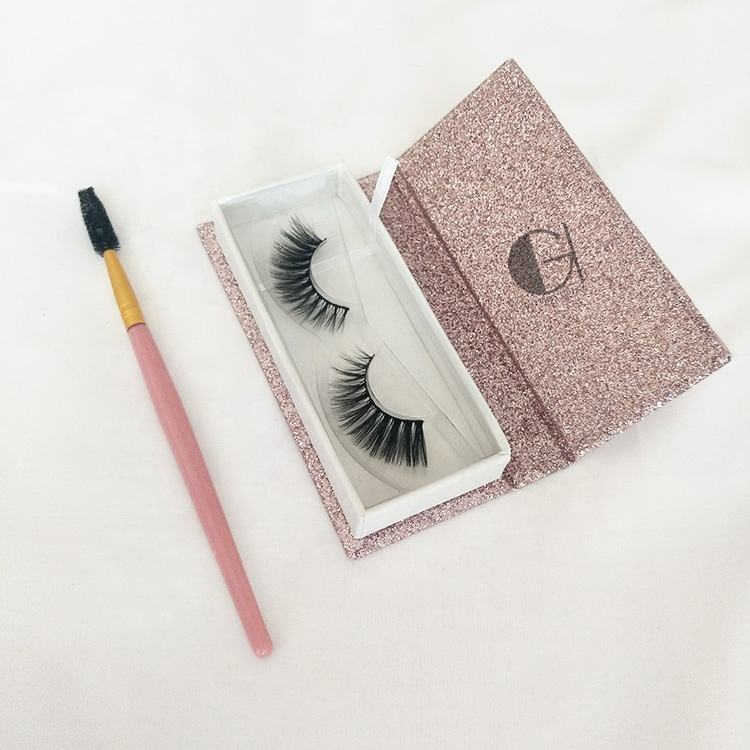 Pink Glitter Shine Magnetic Eyelashes Box Real 3D Faux Mink False Eyelashes With Your Own Brand Logo