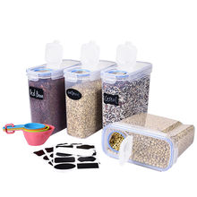 B-4L Plastic Kitchen Storage Box With Lid Airtight  Cereal Food Storage Container Set