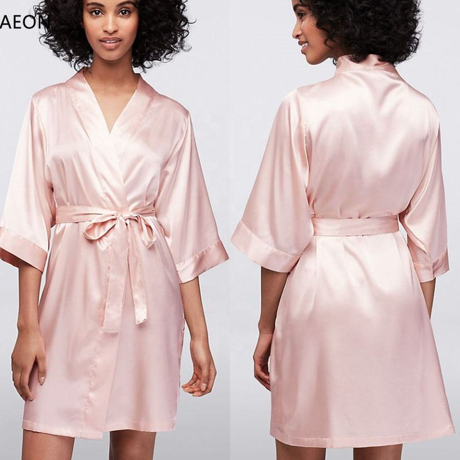 Wholesale Blank Luxury Solid Color Short Kimono Bride and Bridesmaid Satin Robe For Wedding Party