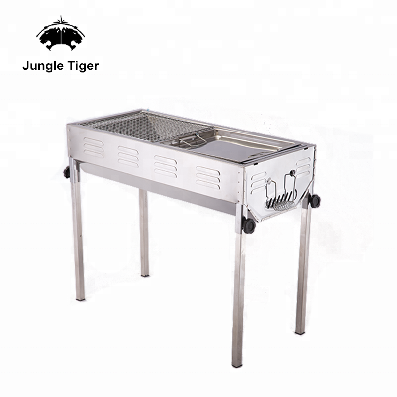 Outdoor thick edelstahl faltbare tragbaren holzkohle-grill