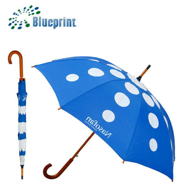 Promotional Items 2018 Blue Color Straight Umbrella Windproof Wood