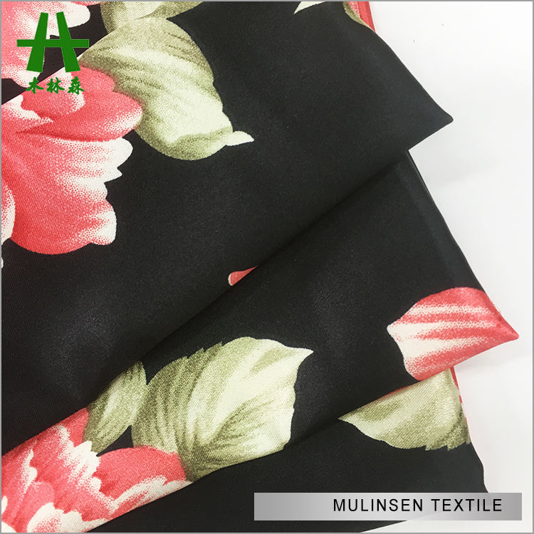 Mulinsen Textile Light Weight 100% Polyester Twist Charmeuse Satin Printed Fabric