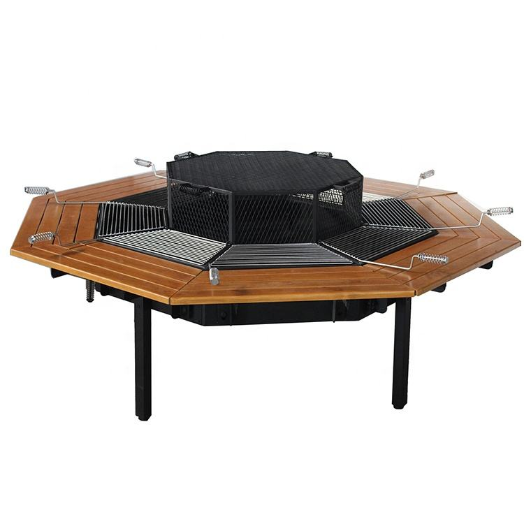 8 seat wooden fire pit table with BBQ grill