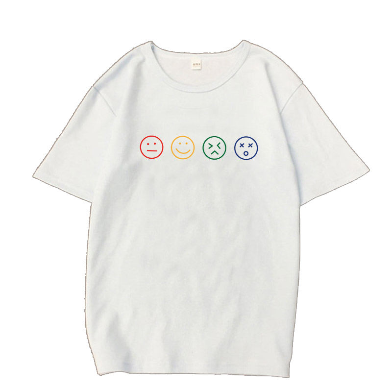 summer T Shirt many sizes available Short Sleeve O neck emotion faces simple picture drawing hot sale Tshirts for woman