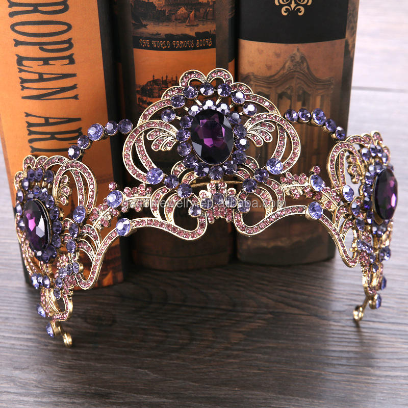 Amethyst crystal europe bridal wedding tiara crown