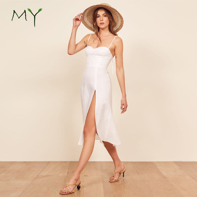 Sweetheart neckline linen resort wear ladies high slit slip dresses