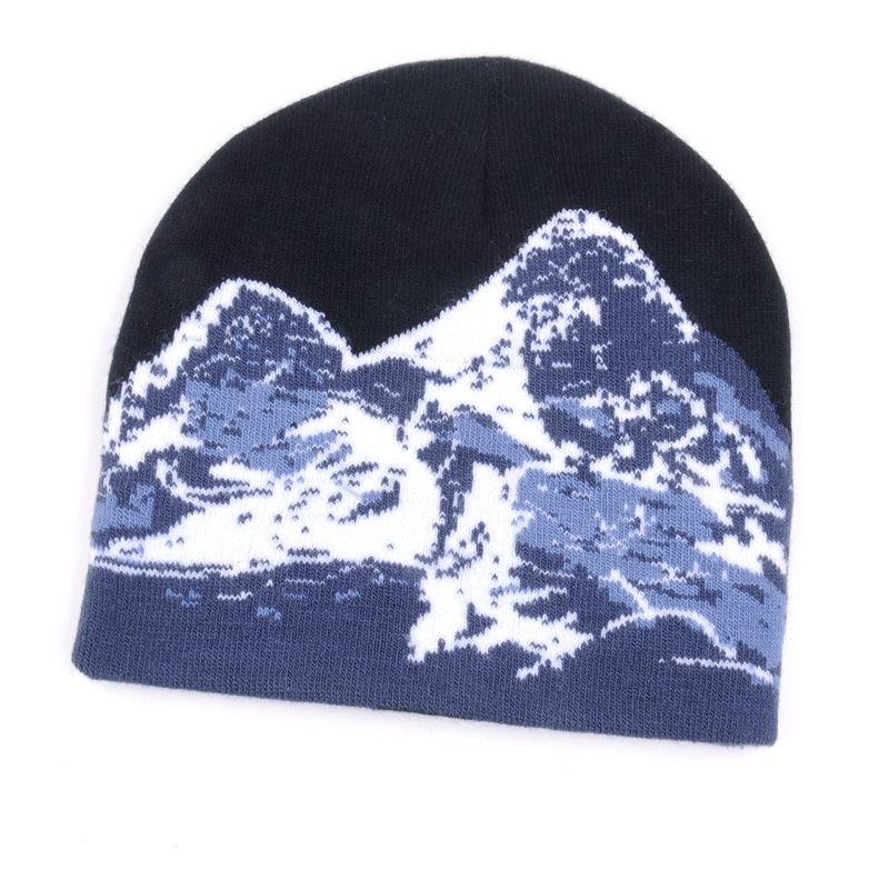 New design reflective oversized printing warm sport running beanie hats