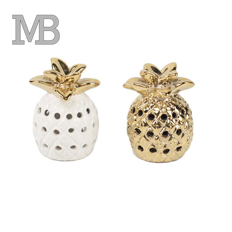 Diseños populares chapado en oro forma de piña de cerámica, decoración para el hogar, accesorios,