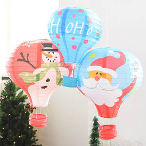 12 inch blue/green/red Santa deer Snowman paper Lantern Hot air Balloon Flying Sky for Christmas Carnival Party Supplies