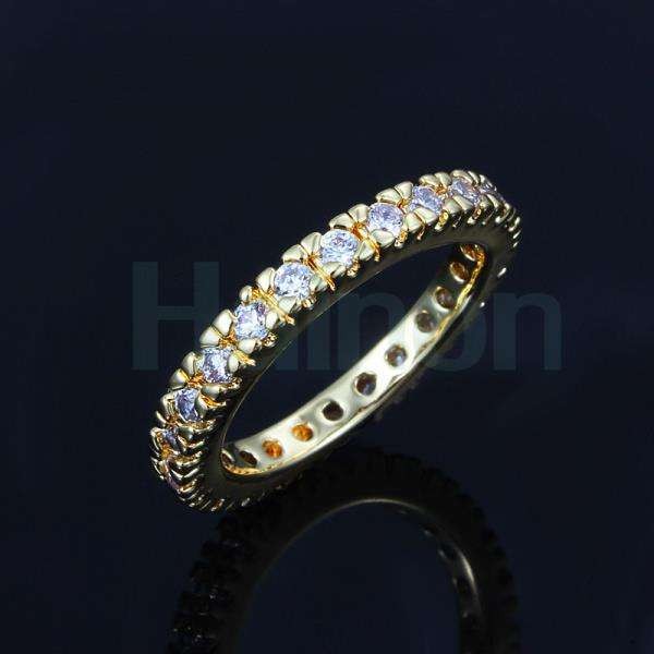 circle ring with zircon diamond cheap design Silver and Gold plating women wedding band Wedding rings