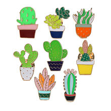 Customized cartoon designs metal succulents leaves cactus plant pin badge