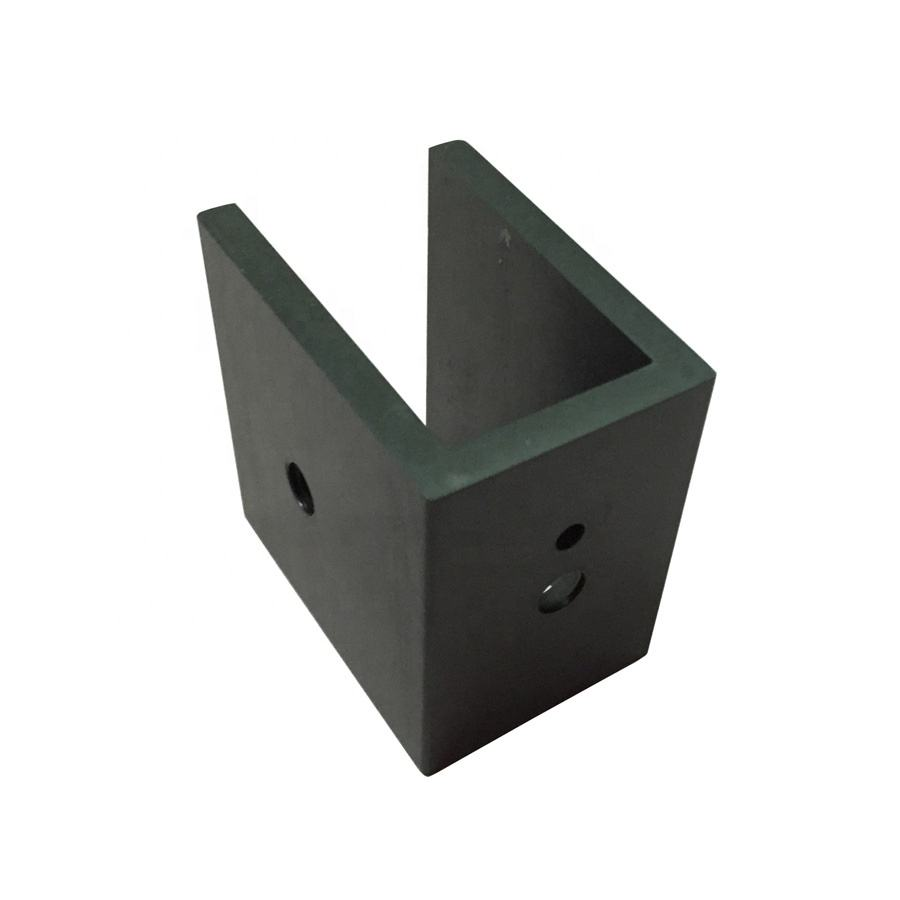Custom CNC Machined U Shape Black Anodized Aluminium Corner Mounting Bracket