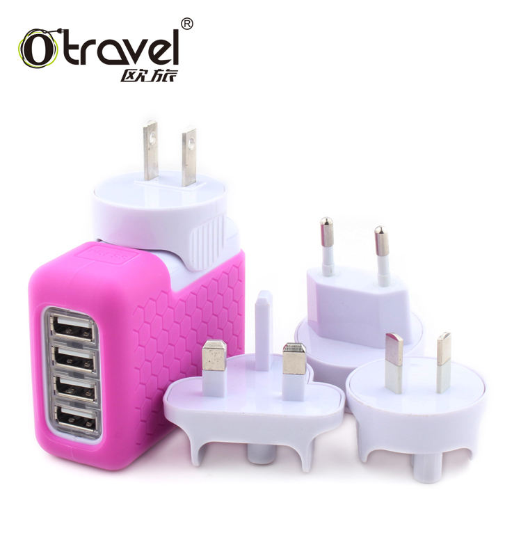 USB Adapter Eu Plug four 4 Usb Travel Wall Charger For Iphone/samsung etc mobile phone